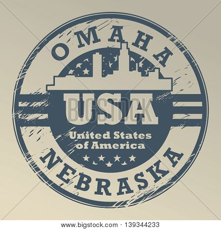 Grunge rubber stamp with name of Nebraska, Omaha, vector illustration