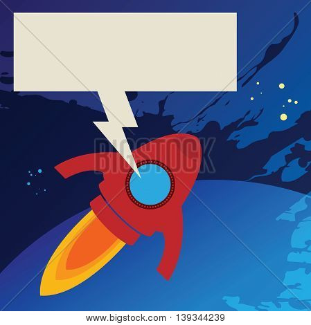 Abstract red Rocket in space, vector illustration