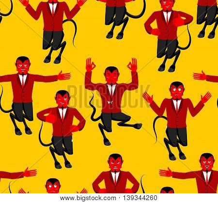 Red Devil Seamless Pattern. Demon With Horns Ornament. Figure Of Satan Background. Prince Of Darknes