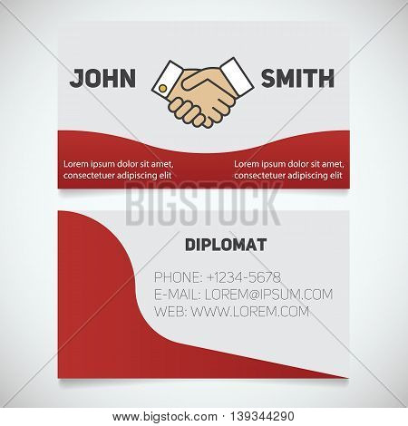Business card print template. Diplomat. Handshake. Agreement logo. Stationery design concept. Vector illustration