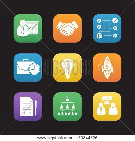 Business flat design icons set. Presentation with graph, text document with pen, handshake, company hierarchy, problem solving, goal achievement symbols. Web application interface. Vector