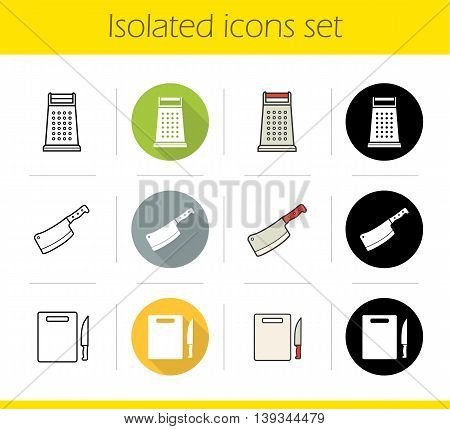 Kitchen tools icons set. Flat design, linear, black and color styles. Cooking instruments. Grater, cleaver, cutting board with knife isolated vector illustrations