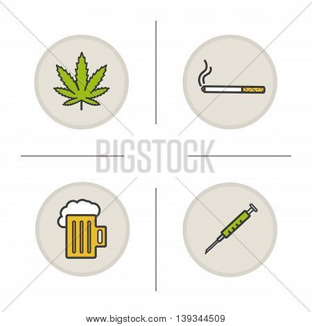 Bad habits color icons set. Addictions. Marijuana leaf, cigarette, foamy beer mug, syringe. Drugs, alcohol and smoking symbols. Vector isolated illustrations