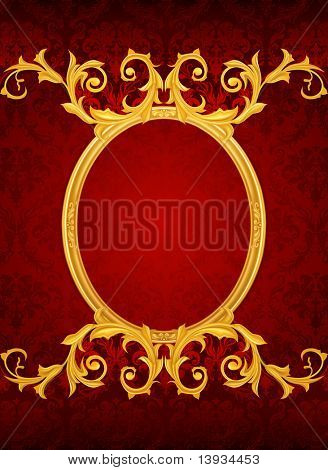 Background with the old frame, vector