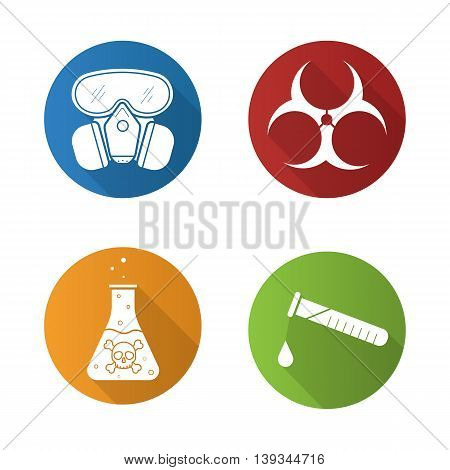 Chemical industry flat design long shadow icons set. Gas mask, danger liquid, chemical test and biohazard symbols. Vector symbols