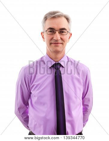 Satisfied senior business man standing isolated, close up
