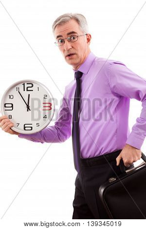 Businessman running late for a meeting, close up