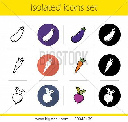 Vegetables icons set. Flat design, linear, black and color styles. Eggplant, beet and carrot. Aubergine and turnip isolated vector illustrations