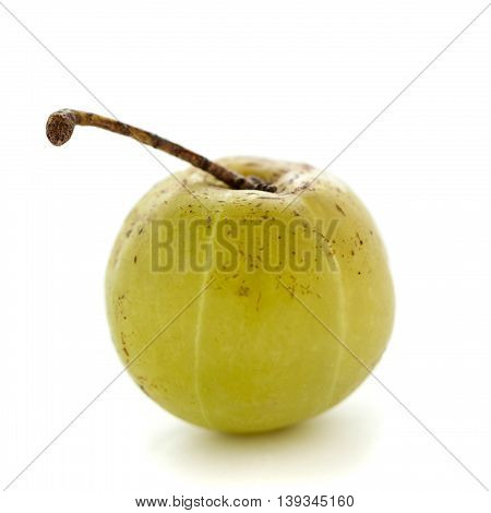 Organic Indian gooseberry or Amla (Phyllanthus emblica) isolated on white background.