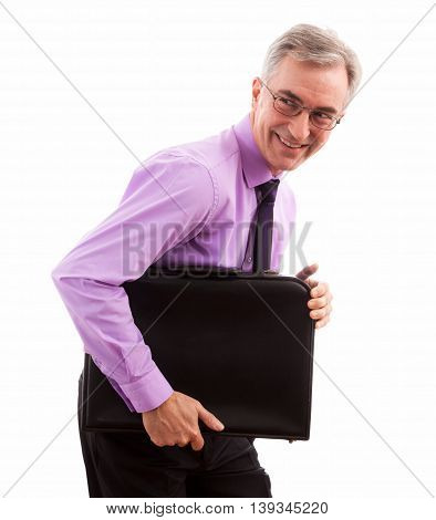 Smiling happy businessman holding briefcase, close up