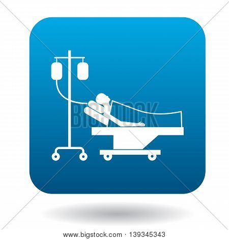 Patient in bed on a drip icon in simple style on a white background