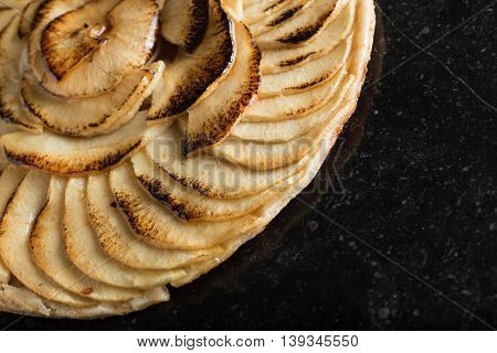 Apple Tart. Traditional French Sweet Dessert On Dark Marble Background. Delicious, Appetizing, Homem