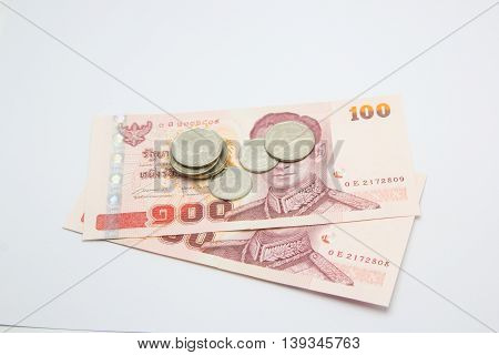 Money thai baht for banknote  and coin