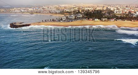 Aerial view on the coast in Namibia and historical districrts of the city Swakopmund in the Namib desert Atlantic ocean Africa
