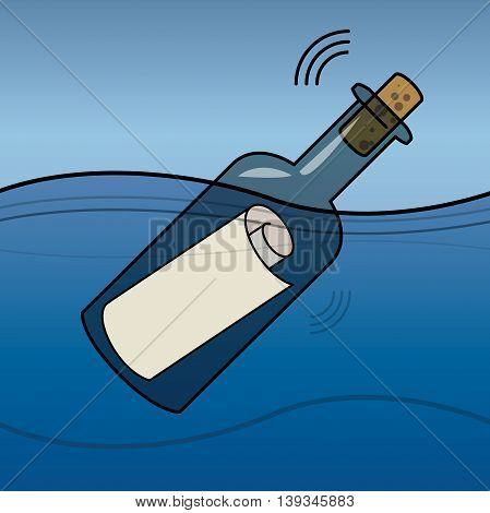 Message in a bottle in the Sea, vector illustration