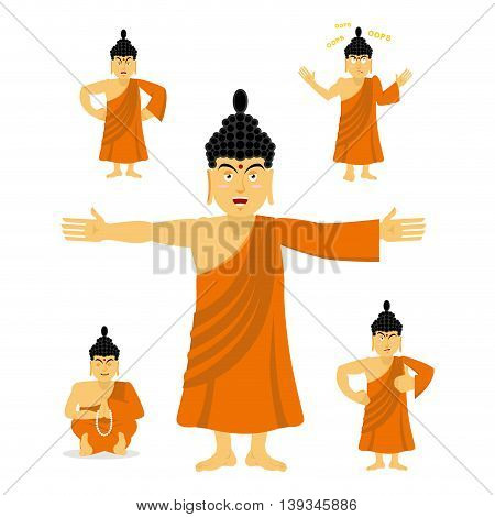 Buddha Set Of Movements. Indian God Set Of Poses. Holy Man Expression Of Emotion. High Teacher For B
