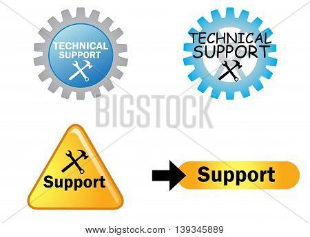 Technical support sign isplated on white background