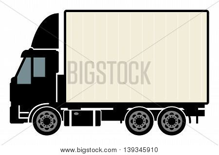Delivery truck on white background, vector illustration