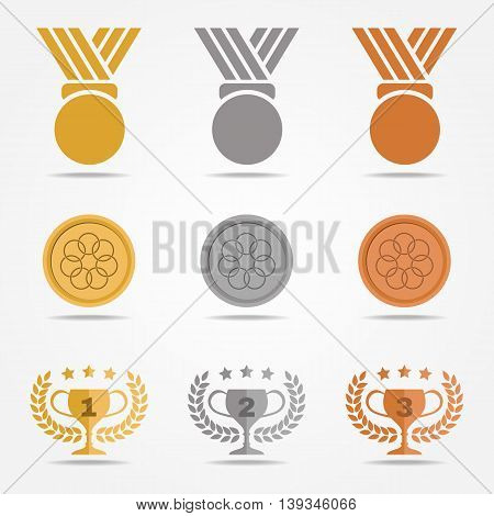 Gold Silver Bronze Medal And Trophies Olive Wreath (solid Color) Vector Set Design On White Backgrou