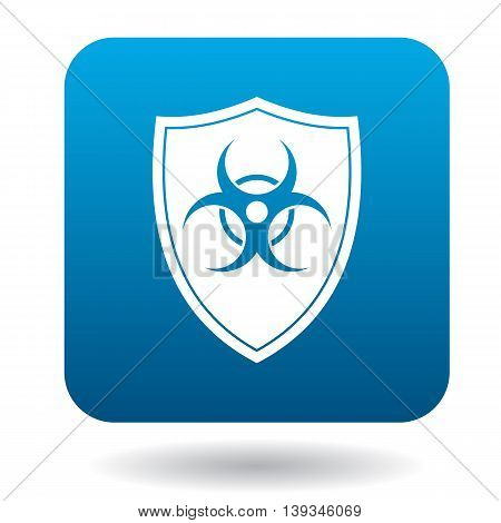 Shield with a biohazard sign icon in simple style on a white background
