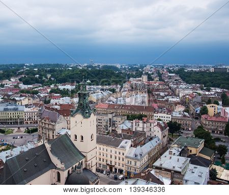 city of lvov ukraine - the top view on the old city of lvov from height