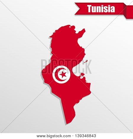 Tunisia map with flag inside and ribbon
