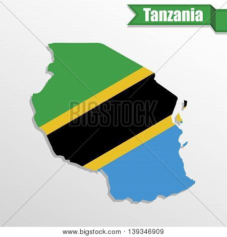 Tanzania map with flag inside and ribbon
