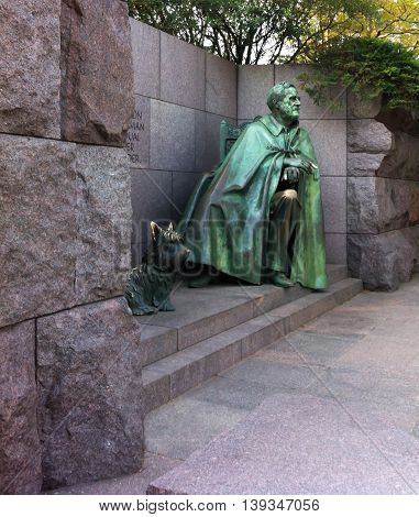 President Franklin Delano Roosevelt Memorial with dog in Washington DC USA (FDR)