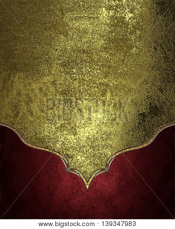 Grunge Shabby Gold On Velvet Red Background. Template For Design. Copy Space For Ad Brochure Or Anno