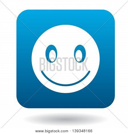 Smiling emoticon icon in simple style on a white background