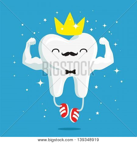 Happy healthy and strong tooth with gold crown and red sneakers. Vector illustration on a blue background. Concept of children's dentistry. Excellent dental card. Cute character. Caries prevention.