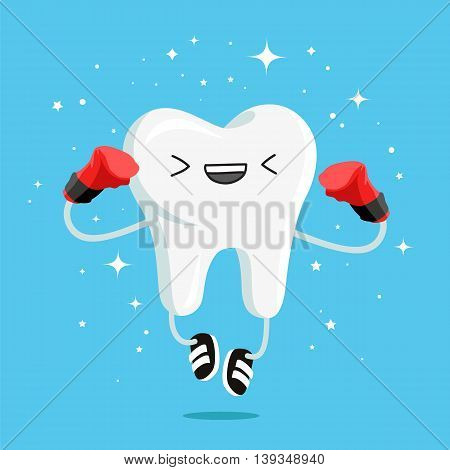 Happy healthy tooth in red boxing gloves and black sneakers. Vector illustration on a blue background. Concept of children's dentistry. Excellent dental card. Cute character. Caries prevention.