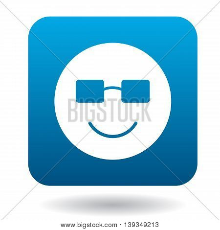 Smiling emoticon in sunglasses icon in simple style on a white background