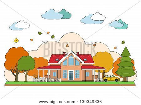 Thin line flat design of autumn landscape. Vector illustration, isolated on white background