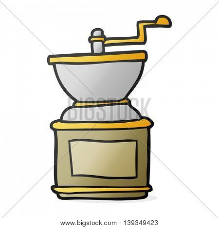 freehand drawn cartoon coffee bean grinder