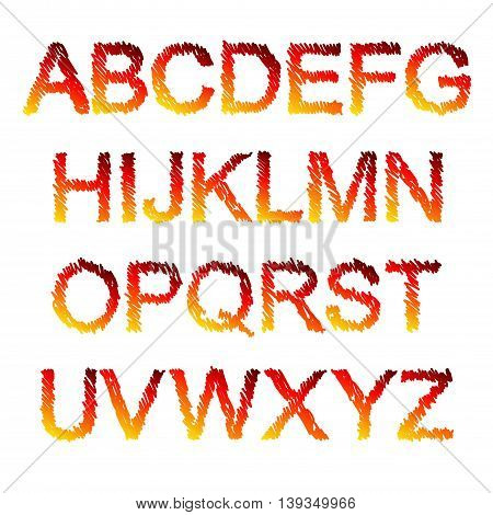 Red and yellow fiery painted alphabet set. Vector illustration.