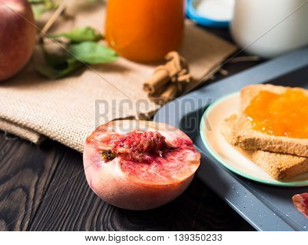 Summer Breakfast With Fruit And Toasts