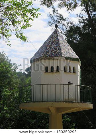 Large white dovecote in park in Jaen