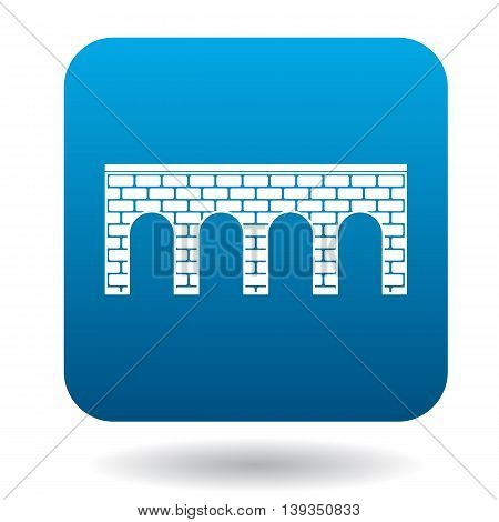 Bridge of brick with arches icon in simple style on a white background