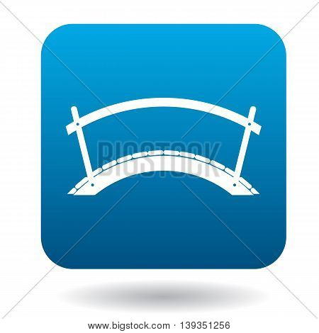Wooden arch bridge icon in simple style on a white background