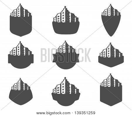 Vector illustration set of logos, emblems, labels for your application. For logo design template. The framework of buildings.