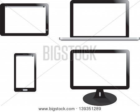 realistic vector illustration  of mobile phone, monitor, laptop and tablet. Isolated on white