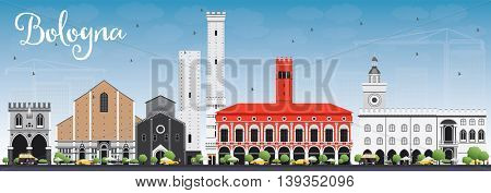 Bologna Skyline with Landmarks and Blue Sky. Vector Illustration. Business Travel and Tourism Concept with Historic Buildings. Image for Presentation Banner Placard and Web Site.