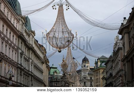 VIENNA, AUSTRIA - DECEMBER 09: Famous Graben street decorated for Christmas on December 09,2011 in Vienna, Austria