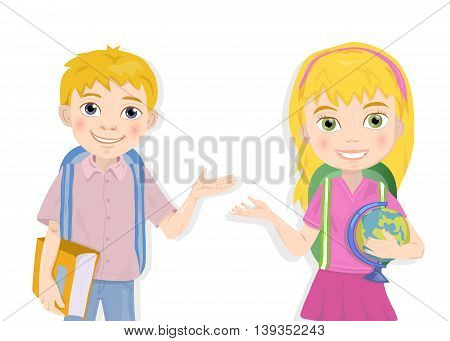portrait of cute schoolboy and schoolgirl greeting vector