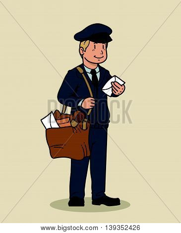 Vector illustration of a mailman delivering mail