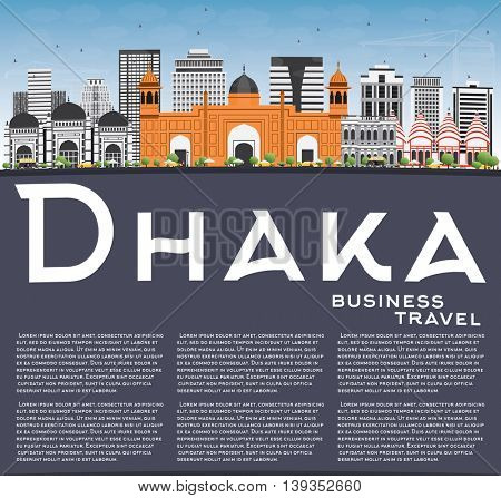 Dhaka Skyline with Gray Buildings, Blue Sky and Copy Space. Vector Illustration. Business Travel and Tourism Concept with Historic Buildings. Image for Presentation Banner Placard and Web Site.