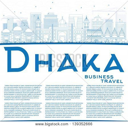 Outline Dhaka Skyline with Blue Buildings and Copy Space. Vector Illustration. Business Travel and Tourism Concept with Historic Buildings. Image for Presentation Banner Placard and Web Site.