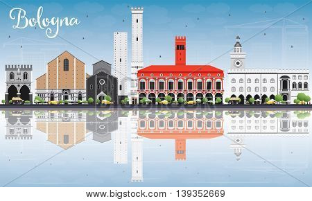 Bologna Skyline with Landmarks, Blue Sky and Reflections. Vector Illustration. Business Travel and Tourism Concept with Historic Buildings. Image for Presentation Banner Placard and Web Site.