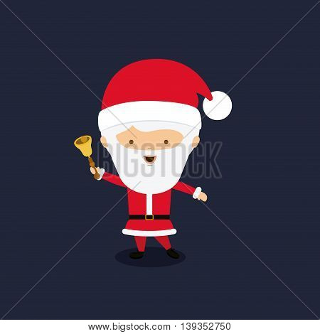 santa claus character with bell  isolated icon design, vector illustration  graphic